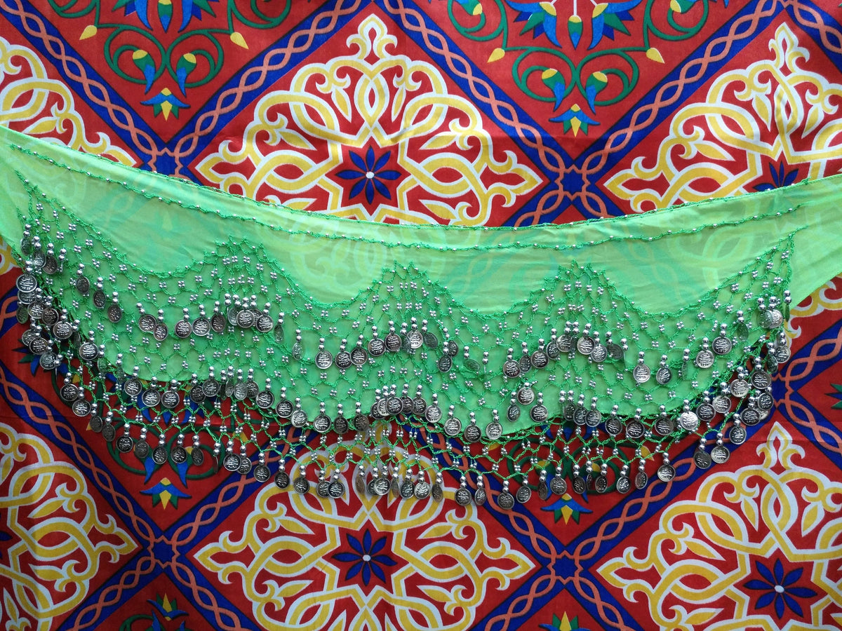 Egyptian Style Belly Dance Hip Scarf - Lime Green Chiffon Coin Belt for Belly Dancing