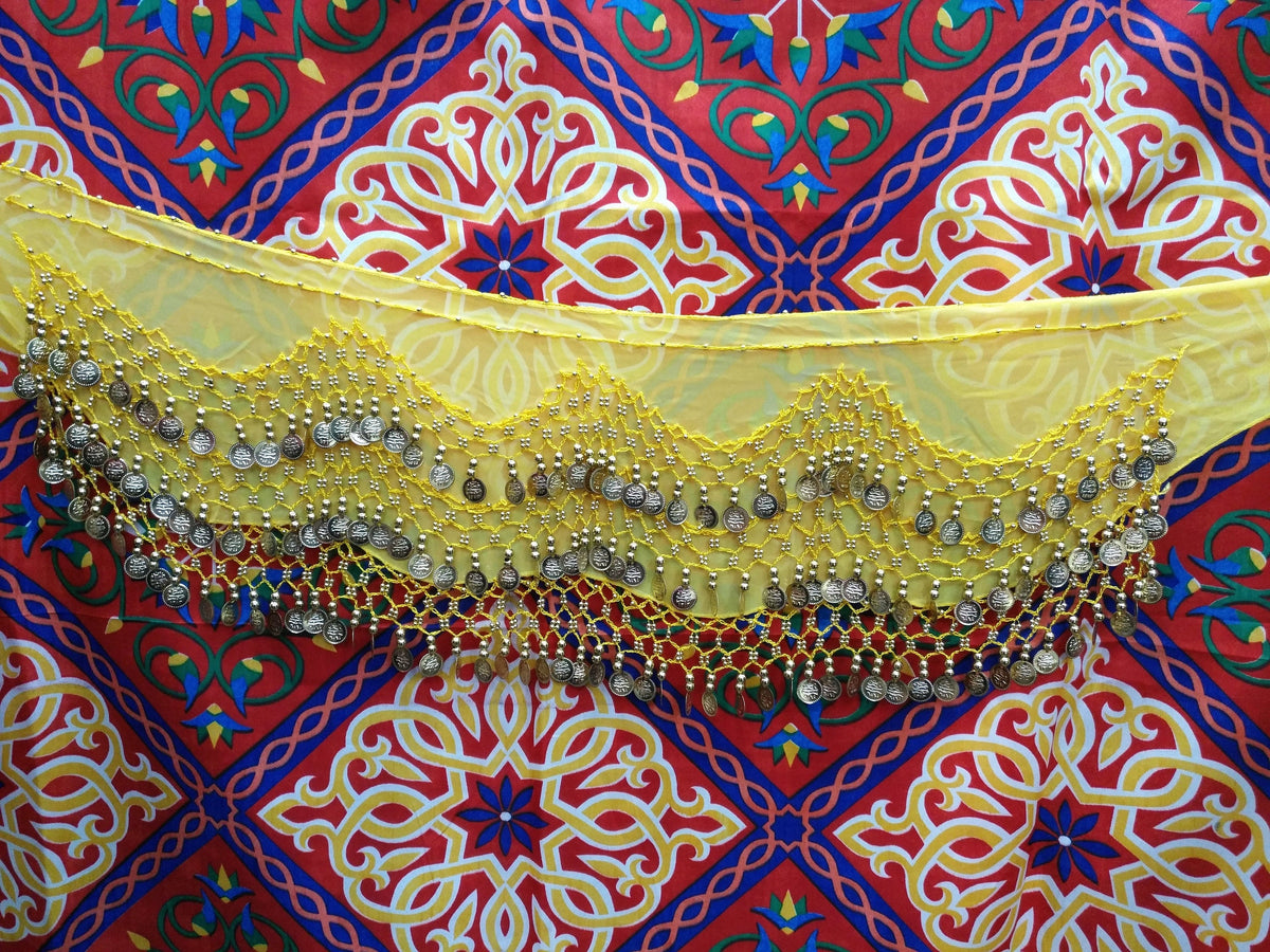 Egyptian Style Belly Dance Hip Scarf - Yellow Chiffon Coin Belt for Belly Dancing