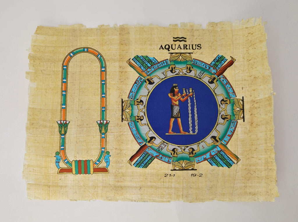 Customizable Egyptian Zodiac Aquarius Papyrus - We paint your name in Hieroglyphics! Egyptian Astrology From Dendera Temple - 20x30cm