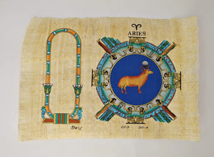 Customizable Egyptian Zodiac Aries Papyrus - We paint your name in Hieroglyphics! Egyptian Astrology from Dendera Temple - 20x30cm