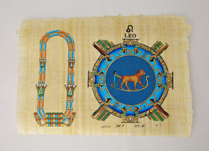 Customizable Egyptian Zodiac Leo Papyrus - We paint your name in Hieroglyphics! Egyptian Astrology from Dendera Temple - 20x30cm