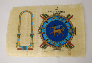 Customizable Egyptian Zodiac Sagittarius Papyrus - We paint your name in Hieroglyphics! Egyptian Astrology from Dendera Temple - 20x30cm