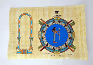 Customizable Egyptian Zodiac Virgo Papyrus - We paint your name in Hieroglyphics! Egyptian Astrology from Dendera Temple - 20x30cm