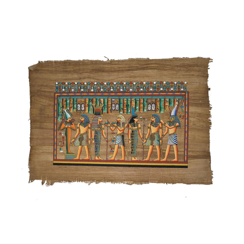 Ramses II being Led by Horus Making Offerings to Hathor, Isis, & Osiris - 40x60cm