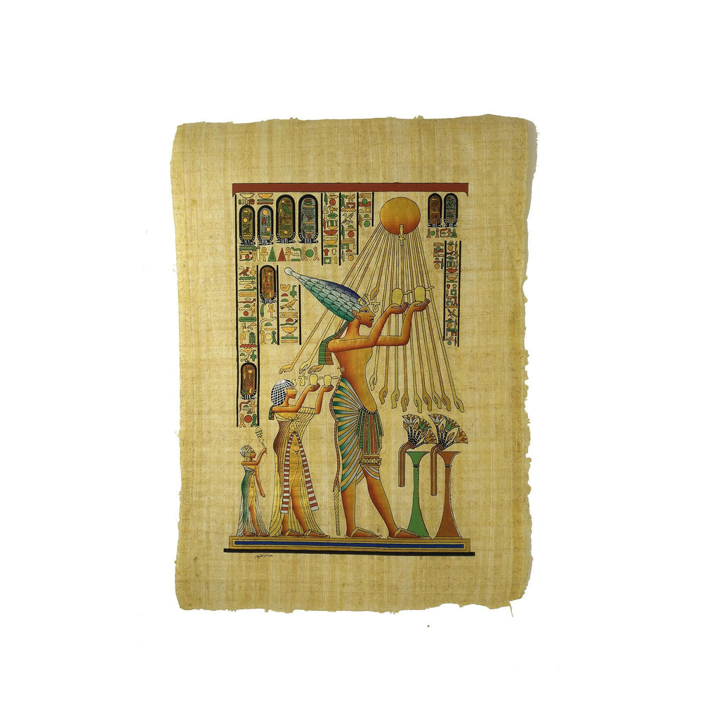 Akhenaten with Nefertiti Worshipping Sun God Aten - Full Colour - 40x60cm