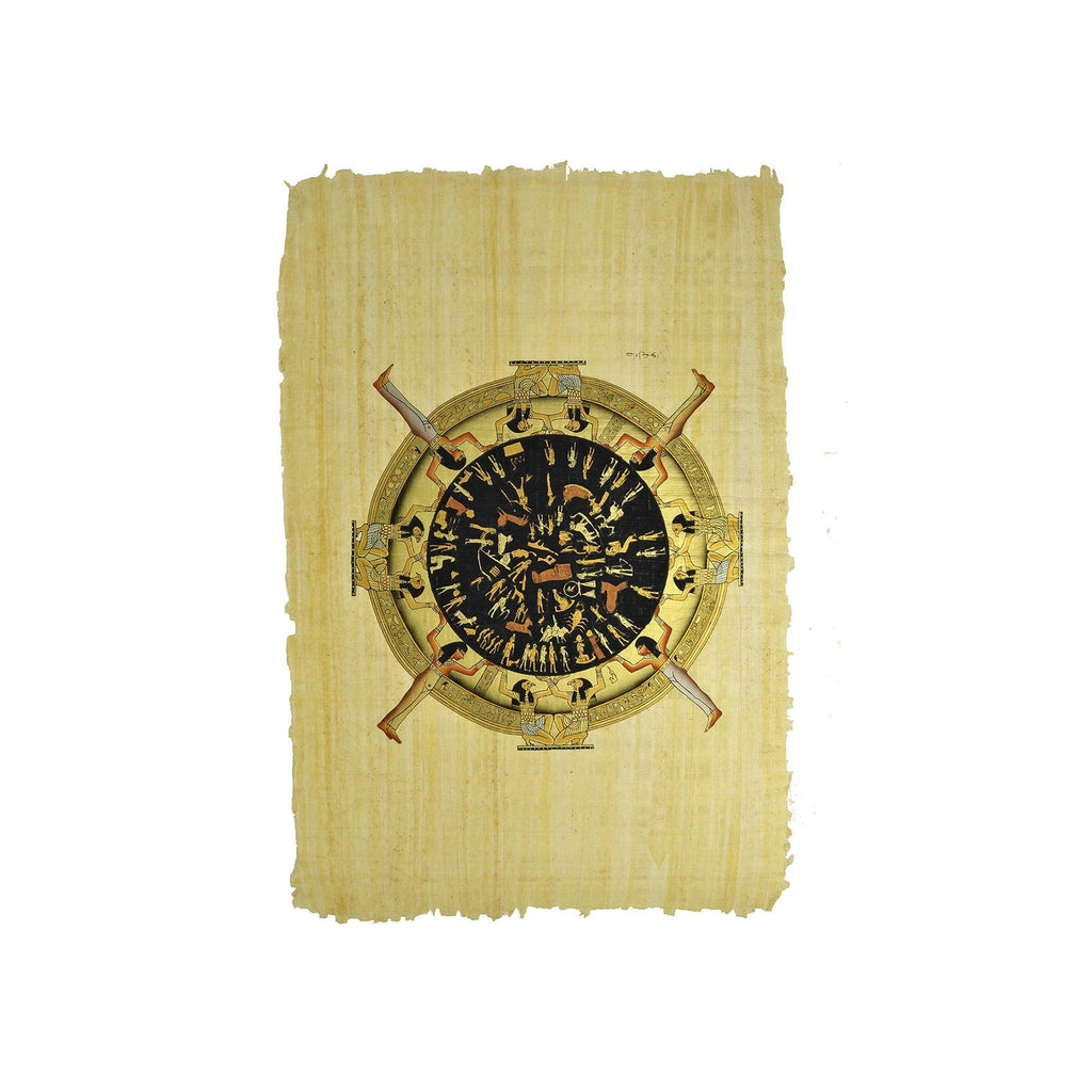 Egyptian Papyrus of Dendera Zodiac - Black and Gold - 40x60cm