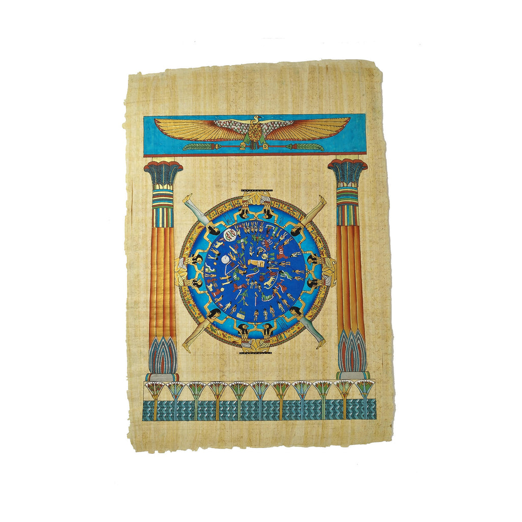 Egyptian Papyrus of Dendera Zodiac - Columns and Lotus Flower - 40x60cm