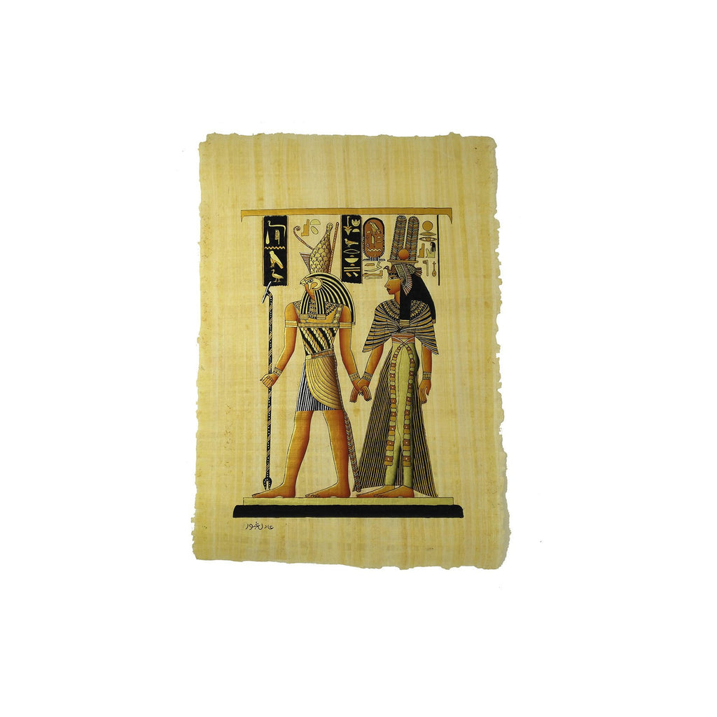 Egyptian God Horus Leading Queen Nefertari into the Afterlife - Black and Gold - 40x60cm