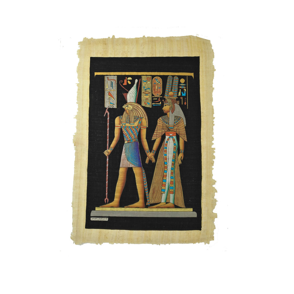 Egyptian God Horus Leading Queen Nefertari into the Afterlife - Black Background - 40x60cm