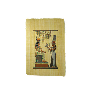 Queen Nefertari offering Lotus to Goddess Isis Papyrus - 40x60cm