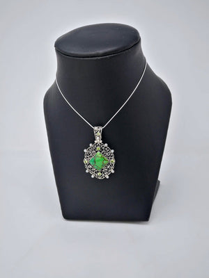 Green Turquoise, Peridot & Pearl Pendant in Sterling Silver - Unique Multi-Stone Silver Pendant - One of a Kind Jewelry