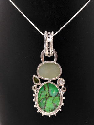 Green Turquoise, Green Druzy, Freshwater Pearl & Peridot Pendant in Sterling Silver - Unique Multi-Stone Silver Pendant