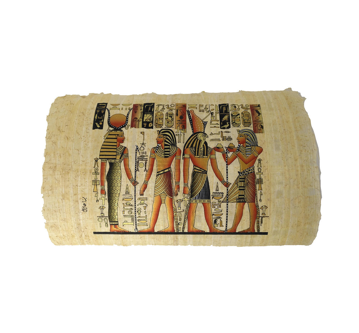 Ramses II making Offerings to Isis & Horus - Black and Gold - 20x30cm