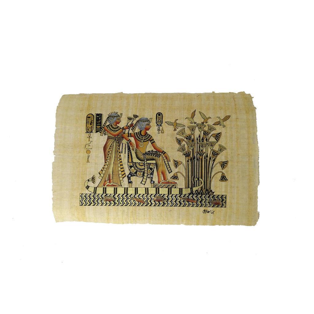 Egyptian Papyrus of King Tutankamun accompanied by Queen Ankhesenamun on Nile Boat - Black and Gold - 20x30cm