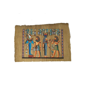 Egyptian Papyrus of Ramses II making Offerings to Isis & Osiris - Ancient Egyptian Pharaoh Ramses the Great - Antiqued Papyrus - 20x30cm