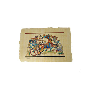 Egyptian Papyrus of King Tutankamun On Chariot Hunting Geese - Full Colour - 20x30cm