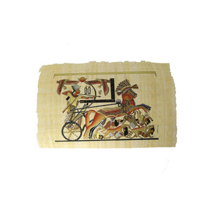 Egyptian Papyrus of King Tutankamun On Chariot with Double Nekhbet Triumphing over his Enemies - Black and Gold - 20x30cm