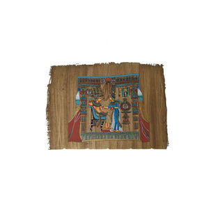 Back of King Tutankamun's Royal Throne - Hand-painted on Egyptian Papyrus - Antiqued Papyrus 20x30cm
