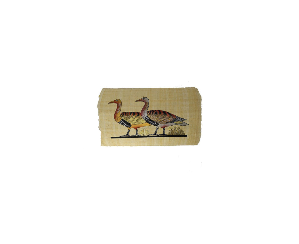 Egyptian Geese Grazing on the Nile - Hand Painted in Egypt -  Black and Gold - 20x30cm