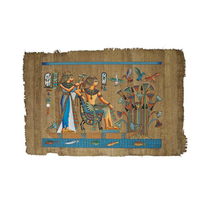 King Tutankamun and Queen Ankhesenamun on Nile Boat Papyrus - 40x60cm