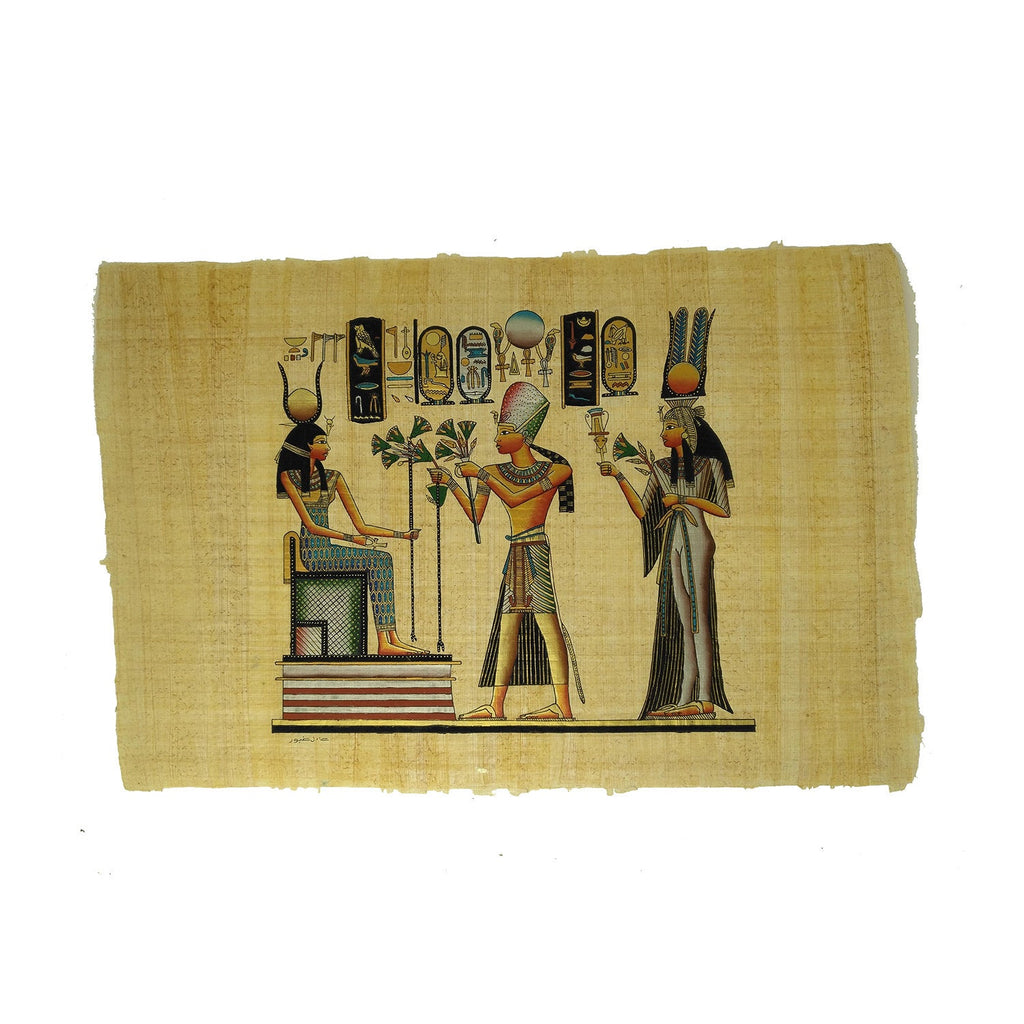 Ramses II with Queen Nefertari offering Lotus Flowers to Goddess Isis - 40x60cm
