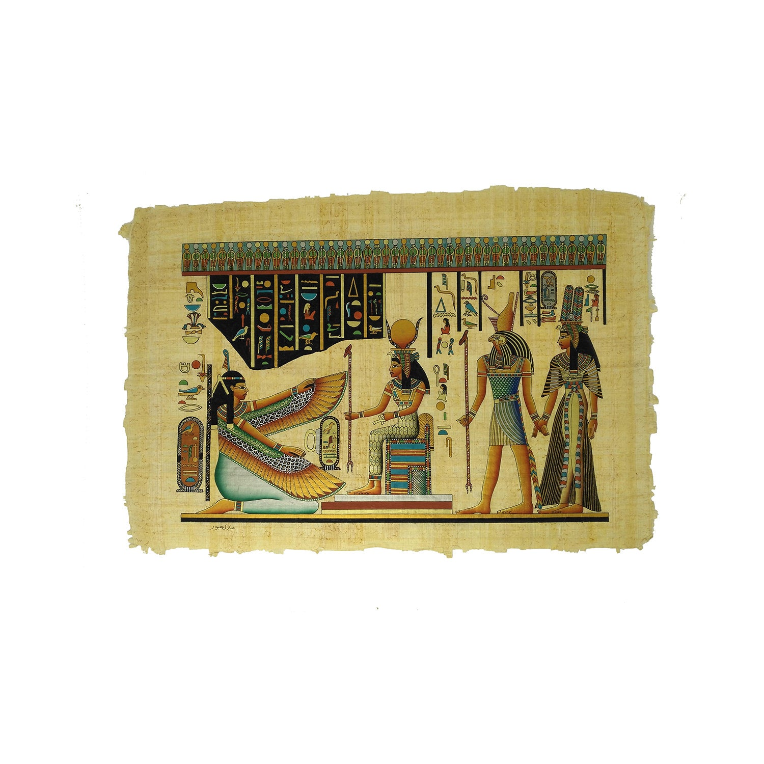 Horus Leading Nefertari into the Afterlife & Goddesses Isis and Ma'at Papyrus - 40x60cm