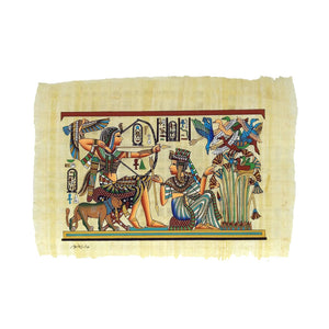 Hand-painted King Tutankamun Hunting with Ankhesenamun Royal Scene - 20x30cm