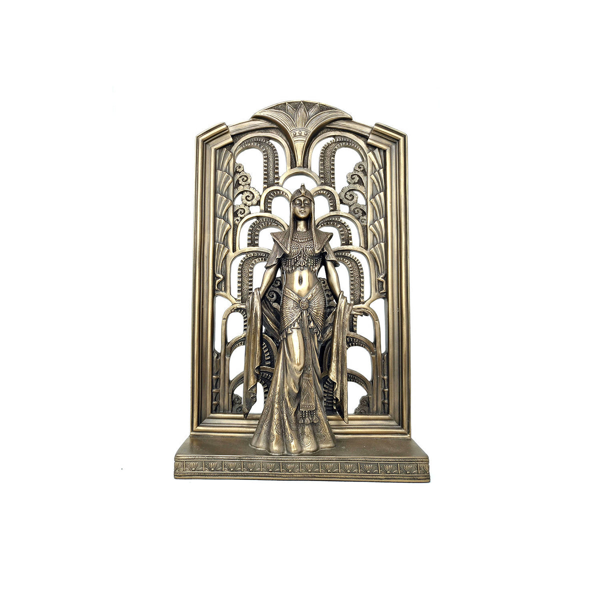 Egyptian Queen Standing with Art Deco Background Statue