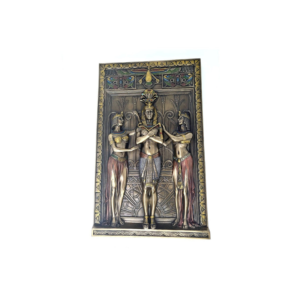Pharaoh Standing with Maidens Wall Plaque