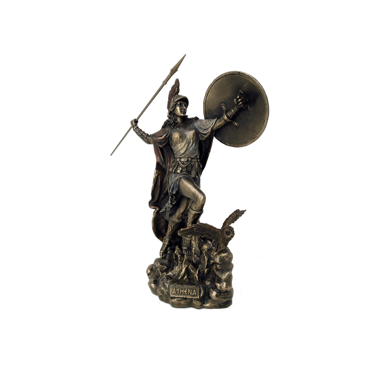 Large Athena with Owl, Spear & Medusa Shield Statue
