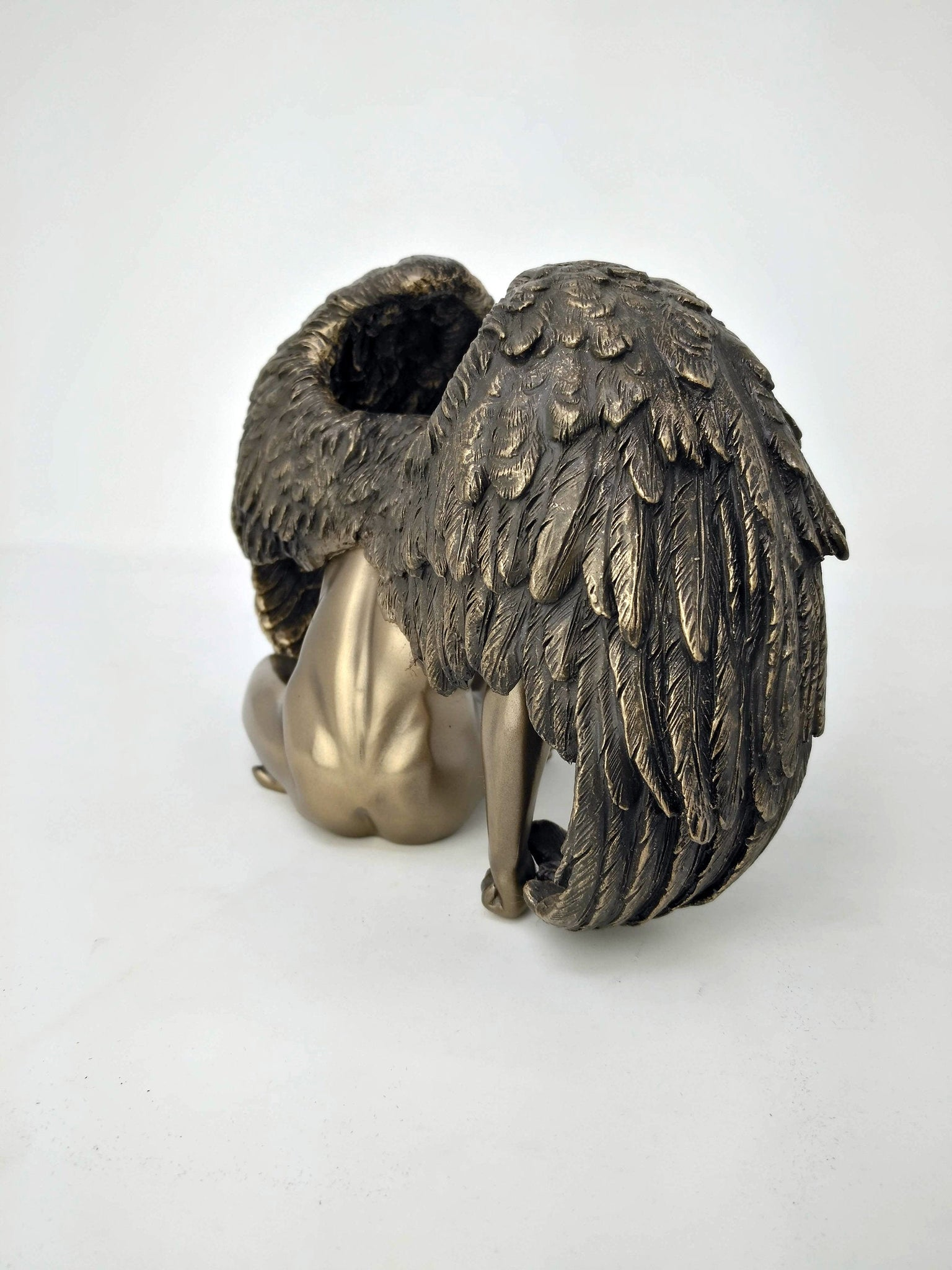 Sitting Nude Winged Male Bronze Statue - Modern Male Body Art with Angel Wings Statue - 7.5 inches / 19cm