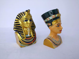 King Tutankamun & Queen Nefertiti Salt and Pepper Shakers - Ancient Egyptian King and Queen Kitchen Decor