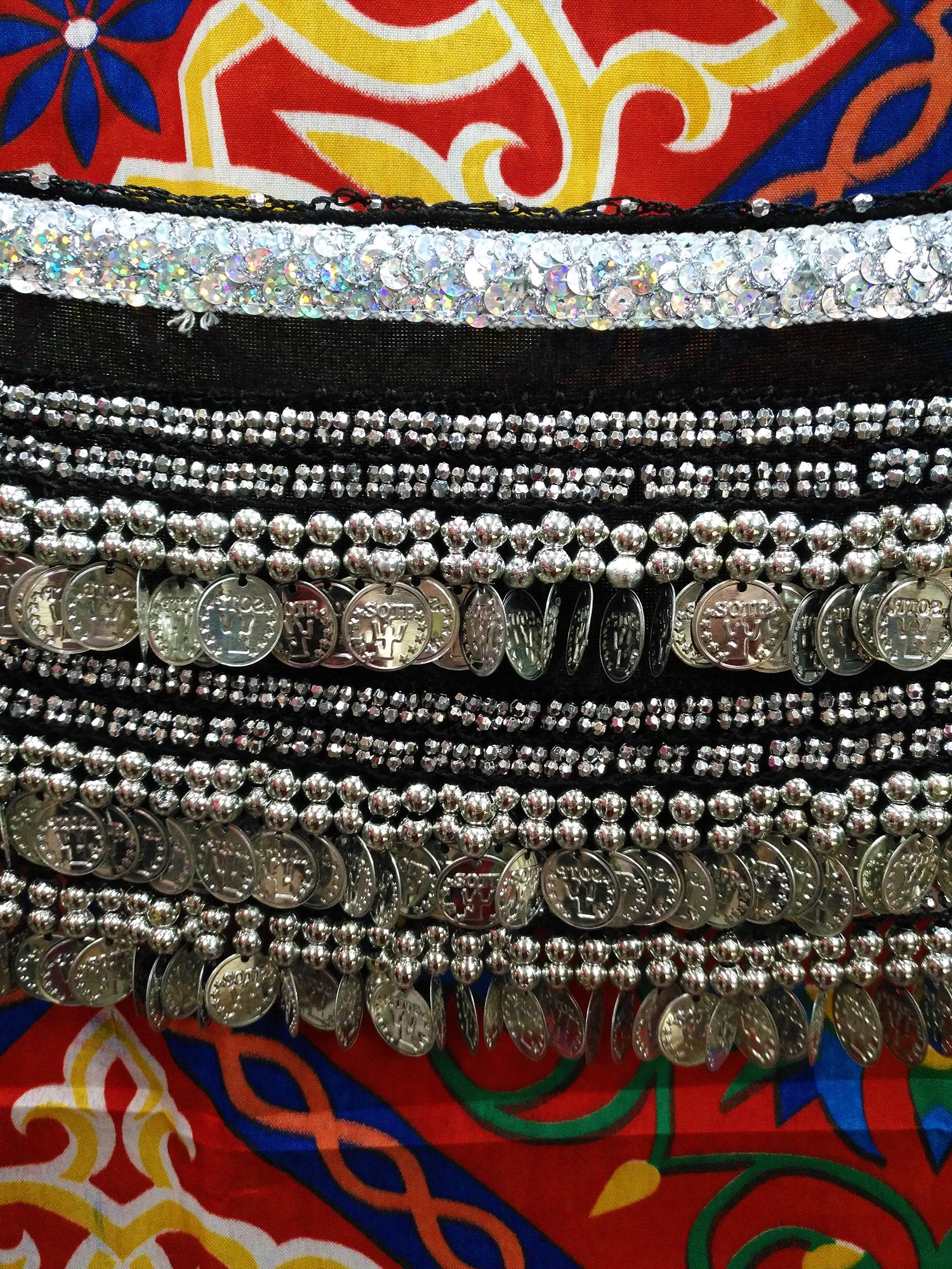 Egyptian Style Belly Dance Hip Scarf - Black Velvet Coin Belt for Belly Dancing with Sparkly Sequin Band & Over 300 coins!