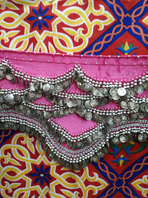 Egyptian Style Belly Dance Hip Scarf - Pink Velvet Coin Belt for Belly Dancing with Traditional Design & lots of coins!