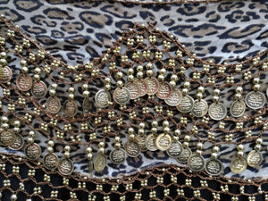 Egyptian Style Belly Dance Hip Scarf - Leopard Print Chiffon Coin Belt for Belly Dancing - Perfect for Beginning Belly Dancing!