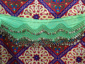 Egyptian Style Belly Dance Hip Scarf - Lime Green Chiffon Coin Belt for Belly Dancing - Perfect for Beginning Belly Dancing!