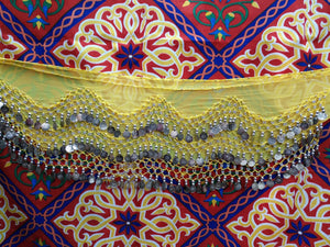 Egyptian Style Belly Dance Hip Scarf - Yellow Chiffon Coin Belt for Belly Dancing - Perfect for Beginning Belly Dancing!