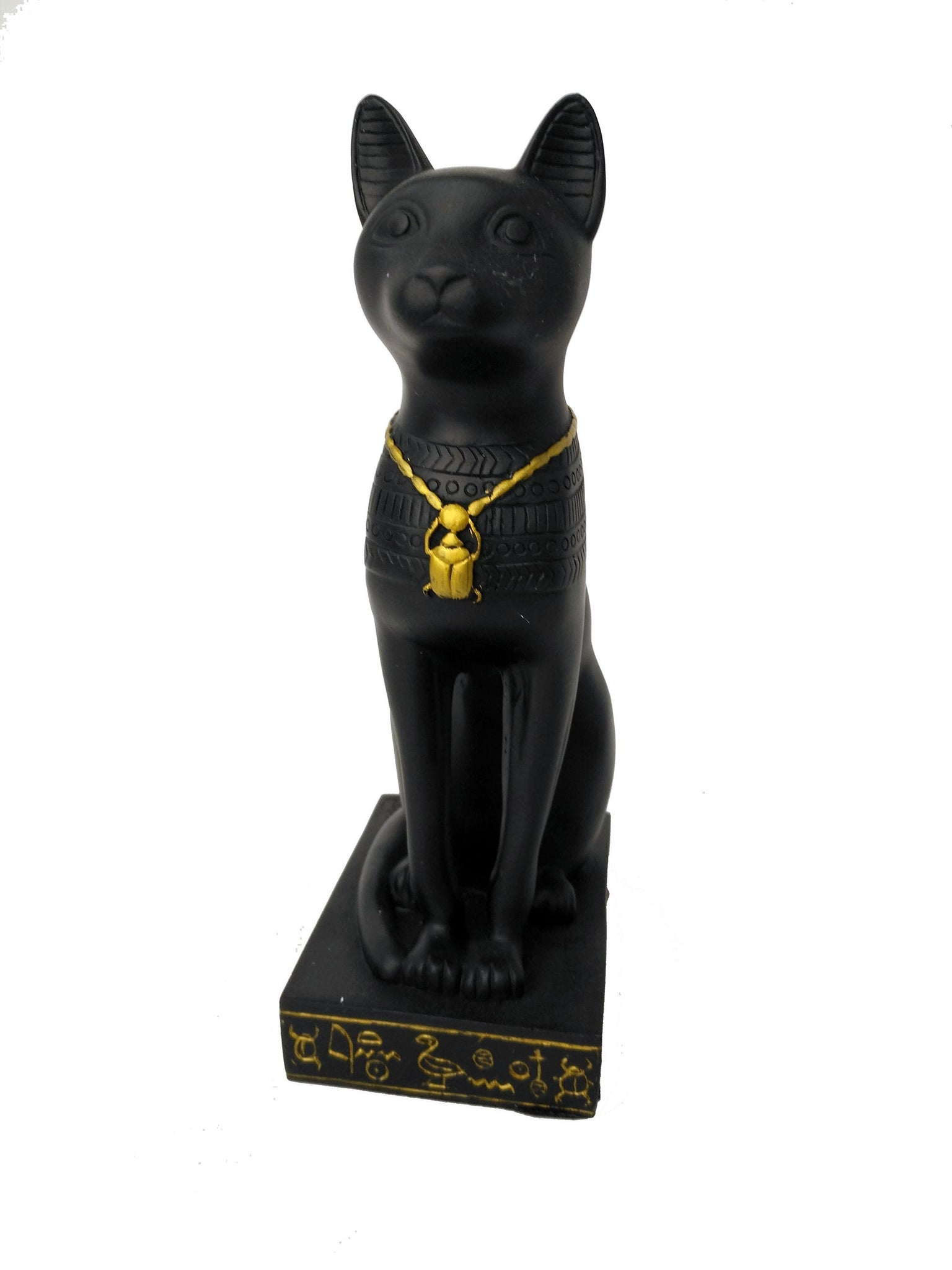 Bastet Statue - Ancient Egyptian Goddess Bastet with Hieroglyphic Base & Scarab Amulet