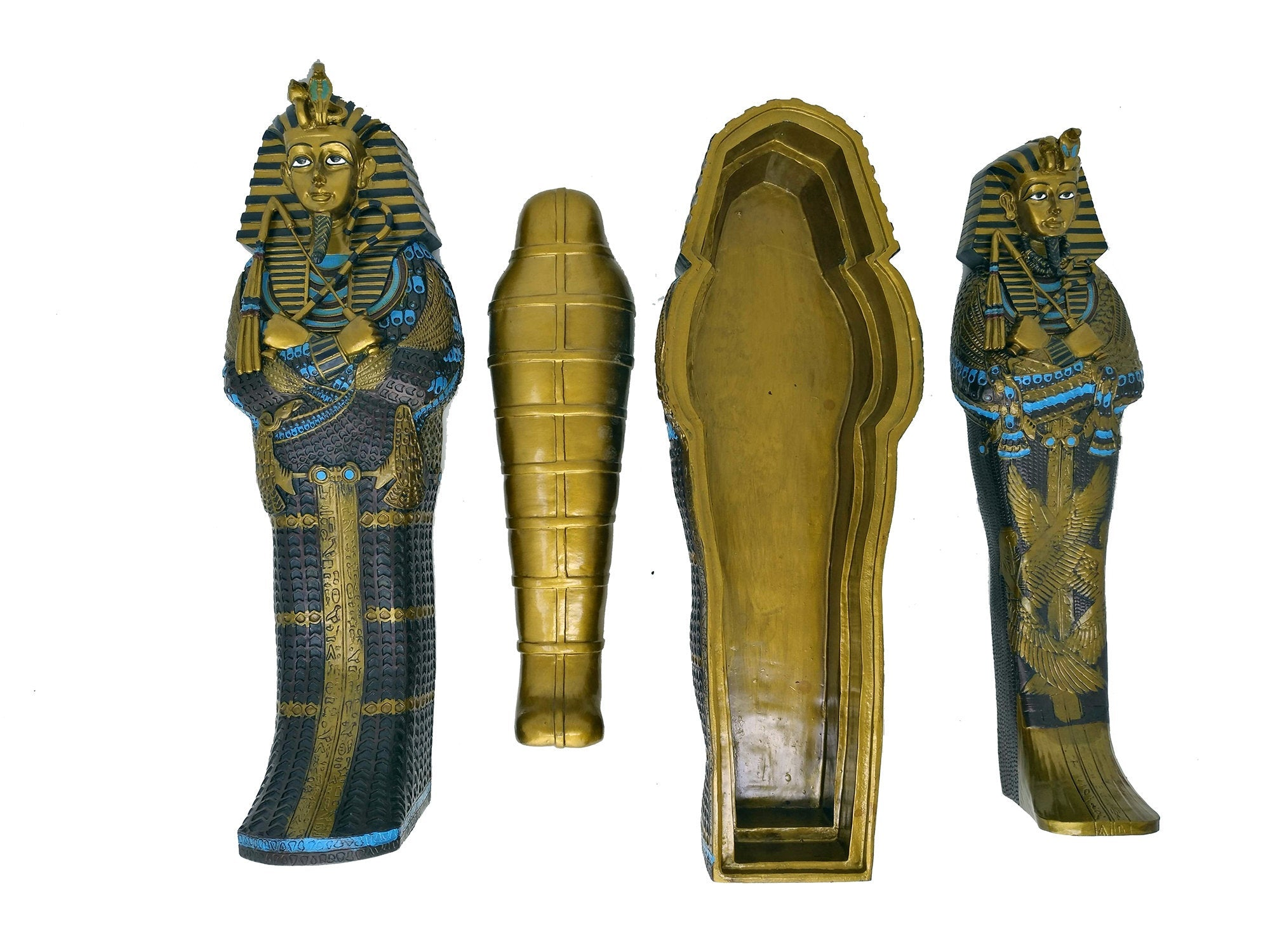 Large Hand-painted King Tutankamun Sarcophagus With Inner Sarcophagus And Mummy Box