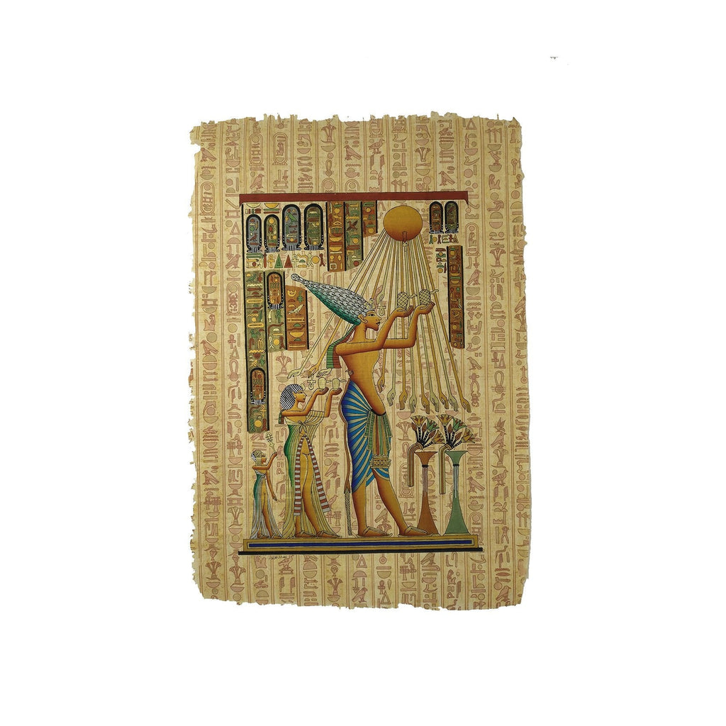 Egyptian Papyrus Akhenaten with Nefertiti Worshipping Sun God Aten - Hieroglyphic Background 40x60cm