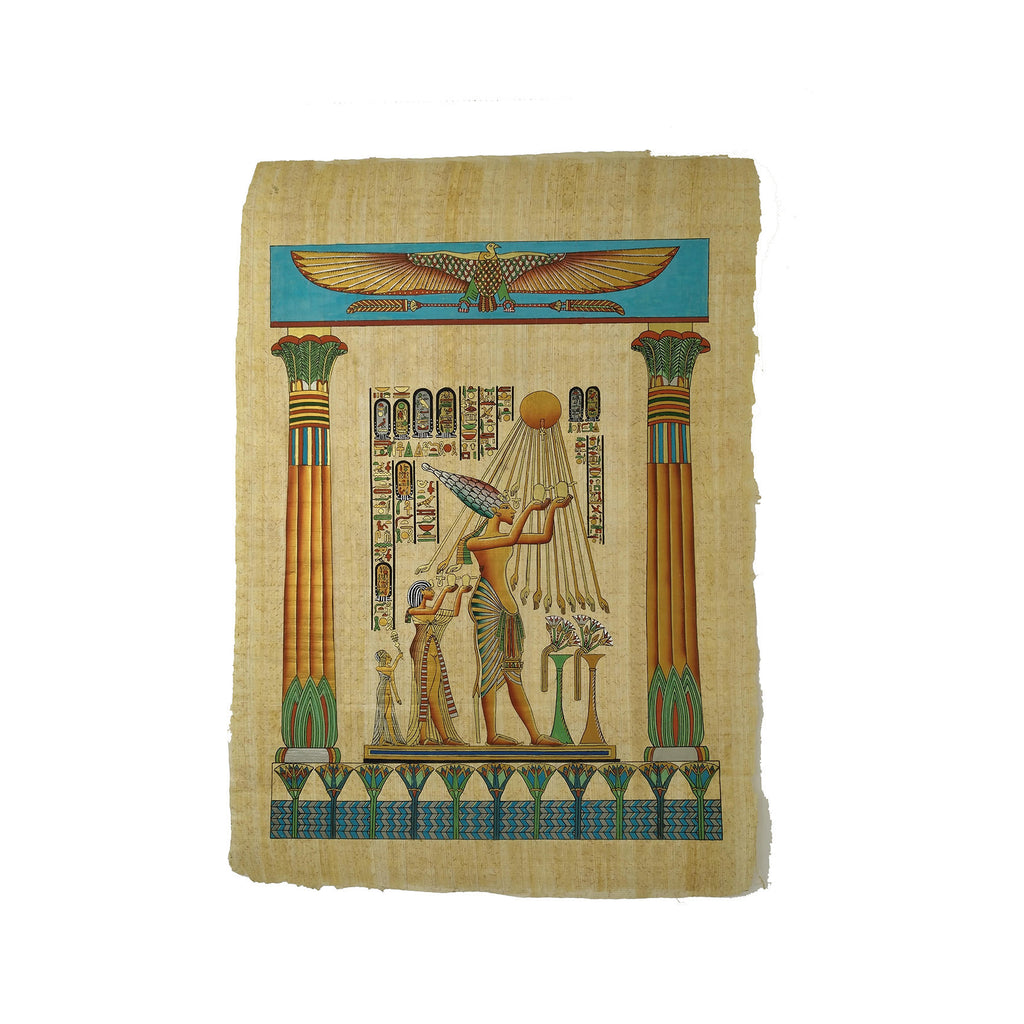 Egyptian Papyrus Akhenaten with Nefertiti Worshipping Sun God Aten - 40x60cm