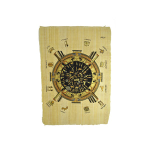 Egyptian Papyrus of Dendera Zodiac - Black and Gold with Names - 40x60cm