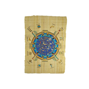 Egyptian Papyrus of Dendera Zodiac - Full Colour with Names - 40x60cm