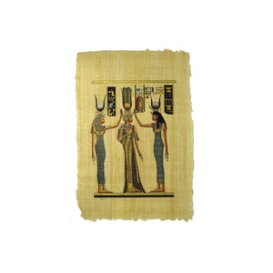 Queen Nefertari Coronation & Blessing with Goddesses Isis and Hathor Papyrus