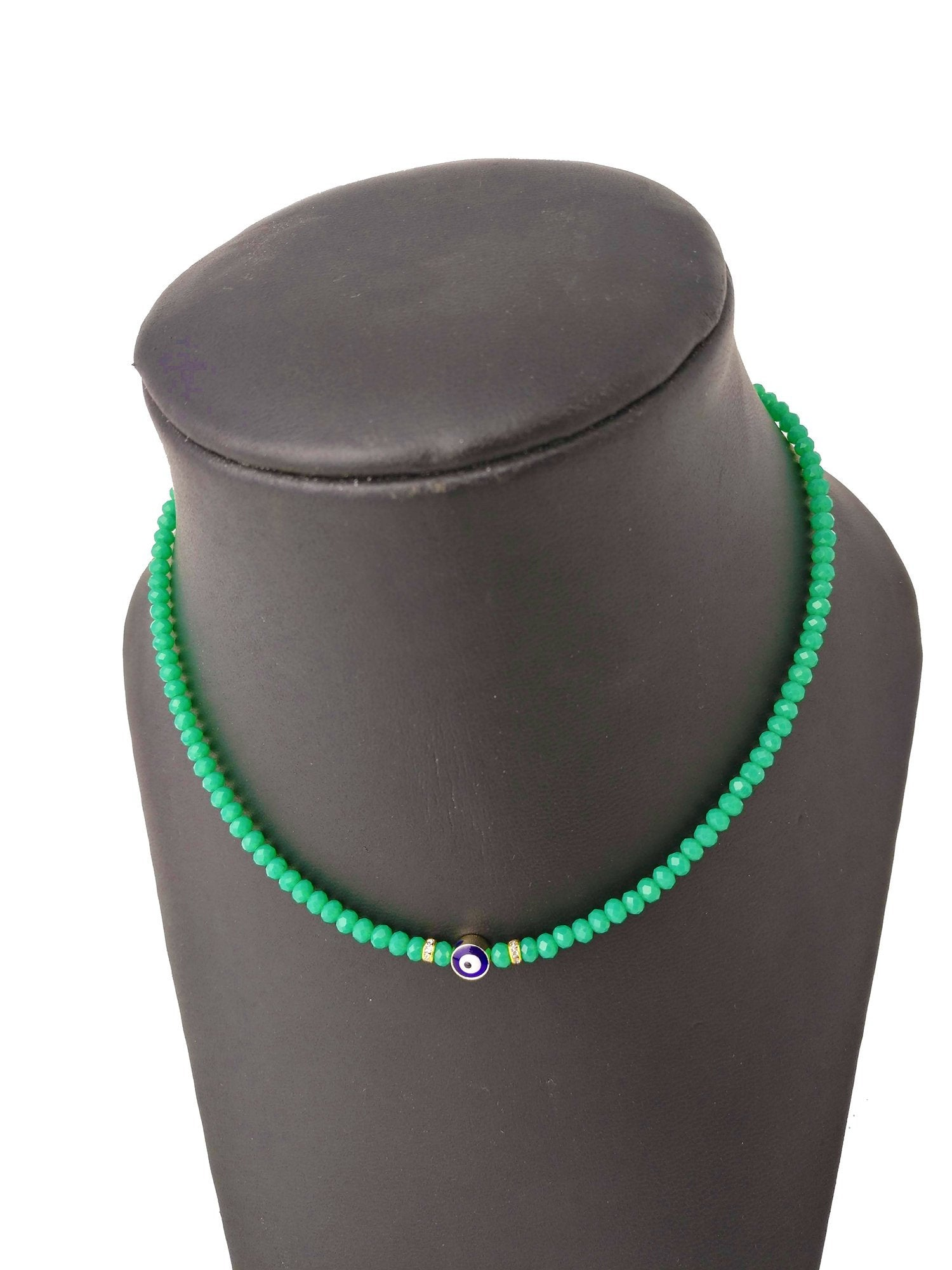 Beaded Evil Eye Necklace - Summer Green Turkish Nazar Necklace - Protection Necklace - Gift for Her - Turkish Nazar Jewelry