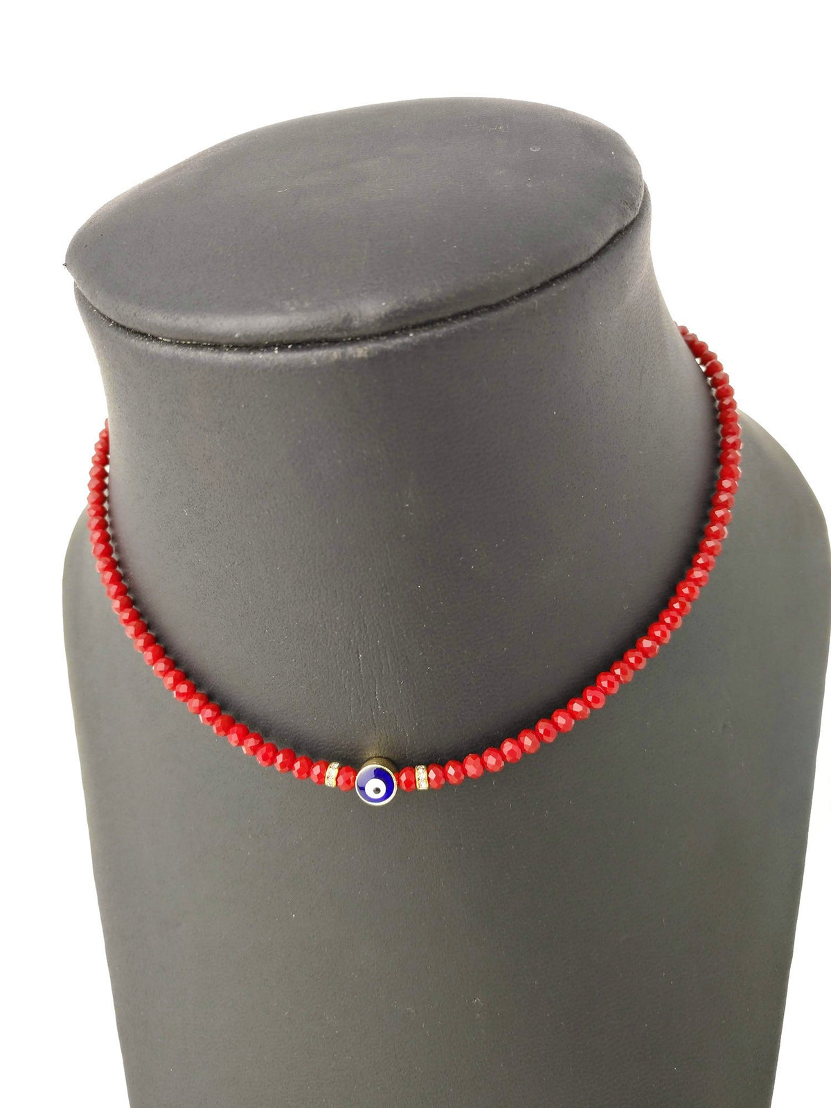 Beaded Evil Eye Necklace - Radiant Red