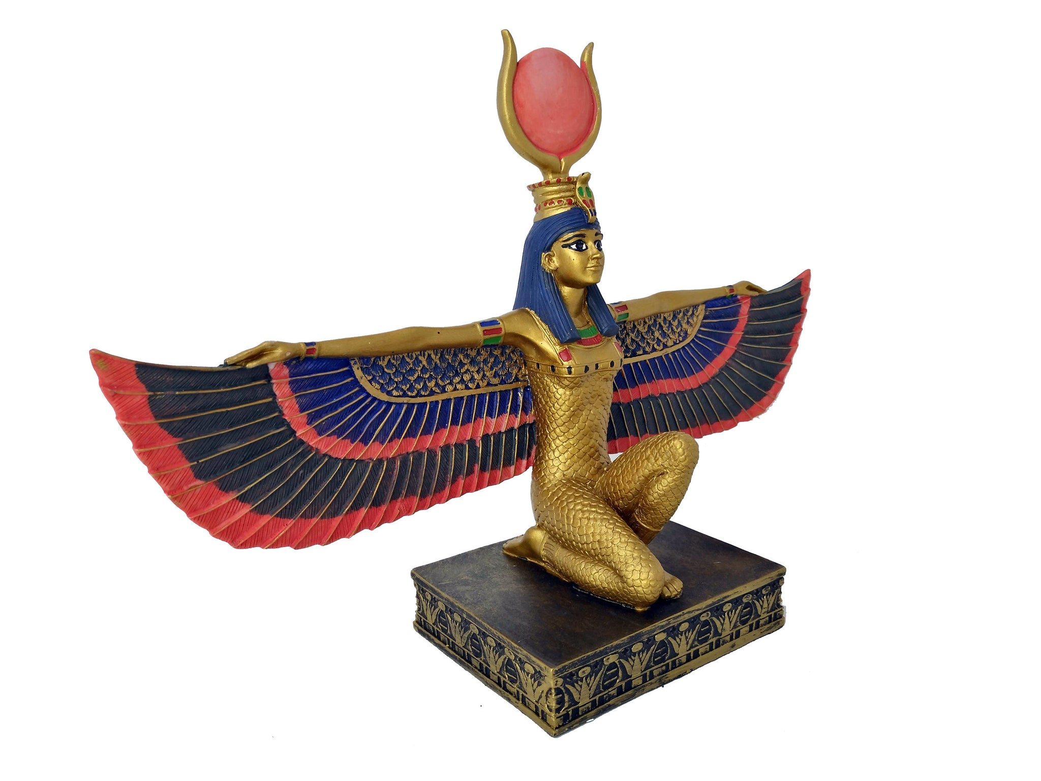 Medium Egyptian Goddess Isis Statue - Ancient Egyptian Goddess Isis With Wings Statue - 11.4 inches / 29 cm