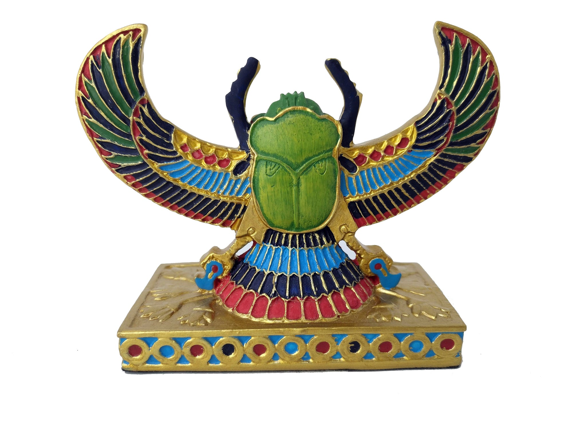 Winged Scarab Beetle Statue - Egyptian Scarab Beetle with Wings representing God Khepri Ancient Egyptian Positivity & Good Fortune Talisman