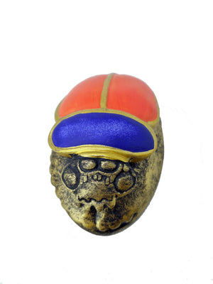 Tri-Coloured Scarab Beetle - Egyptian Scarab Beetle with Red, Blue, and Gold representing God Khepri Ancient Egyptian Positivity Talisman