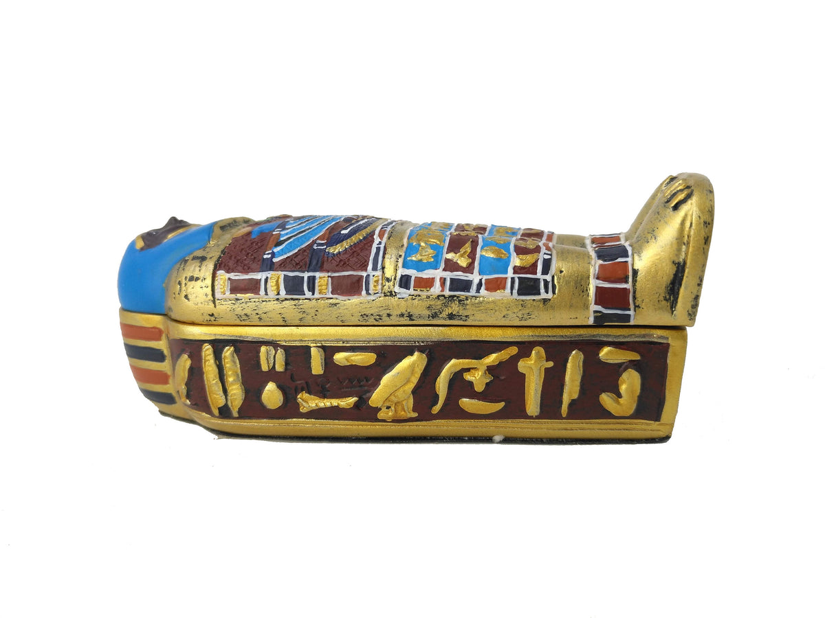 Saqquara Sarcophagus With Mummy Box - Cast Resin Replica  - 3 Pieces!